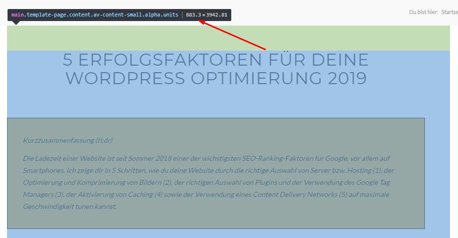 Breite Website