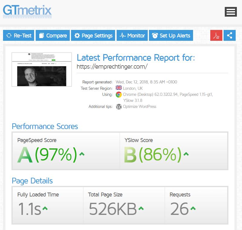 GTmetrix emprechtinger.com