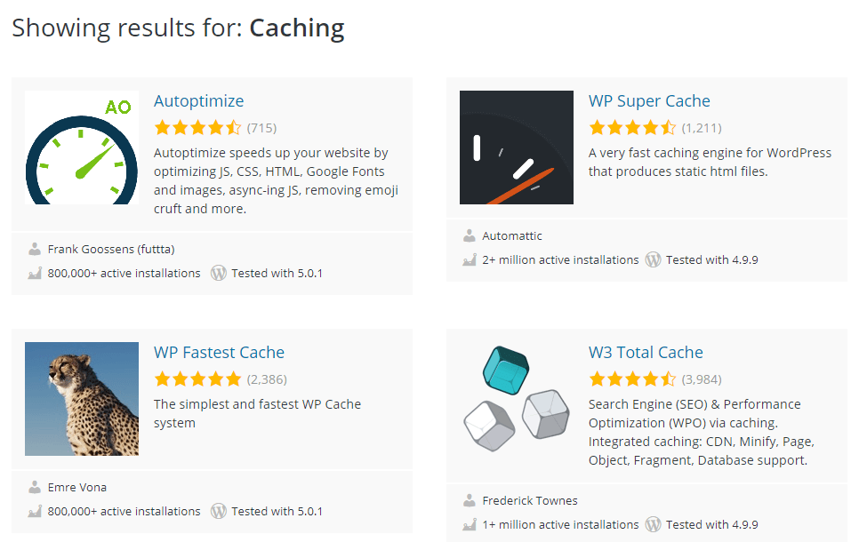 WordPress Caching Tools